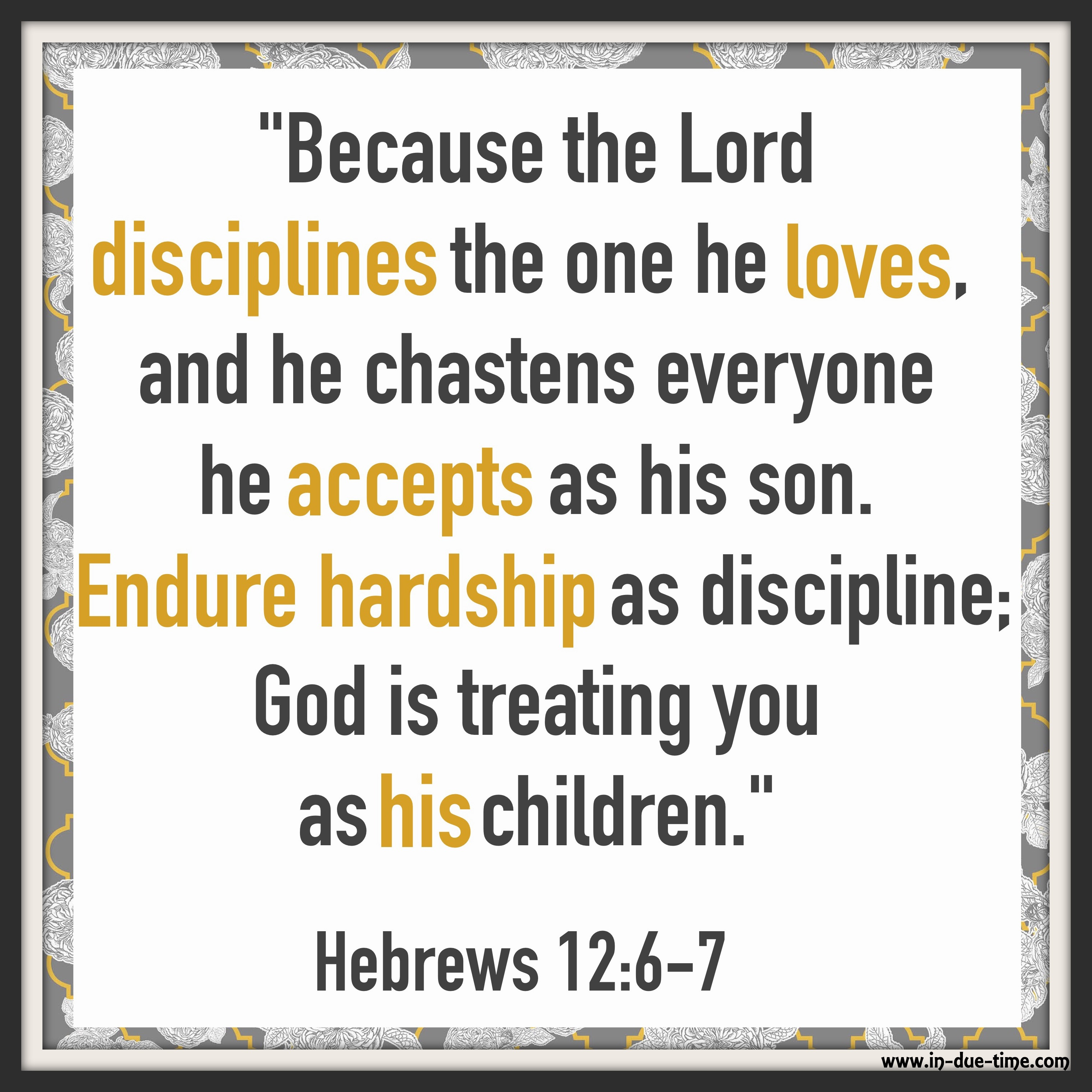 Hebrews 12 7 Hardship As Discipline 132 In Due Time