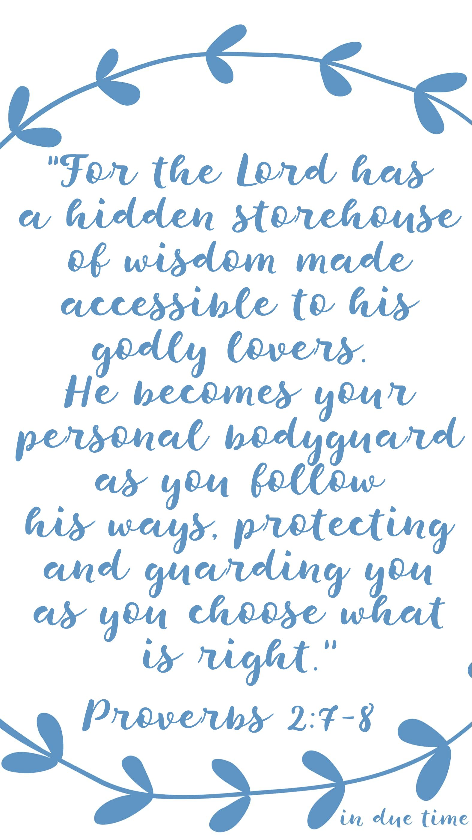 storehouse of wisdom - in due time blog