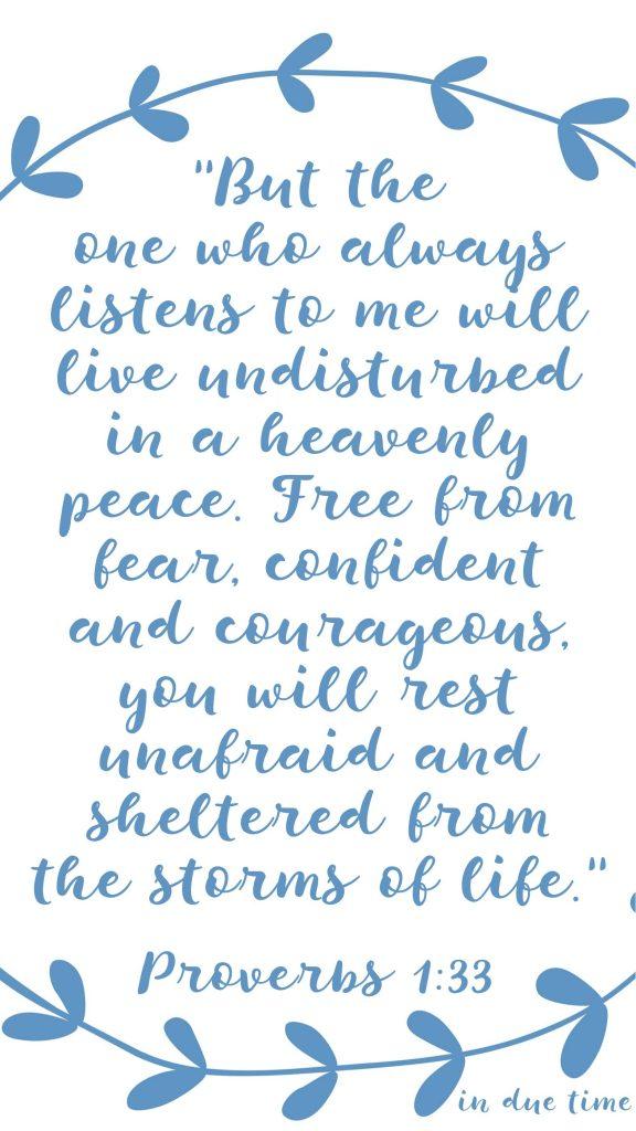 rest unafraid - proverbs 1