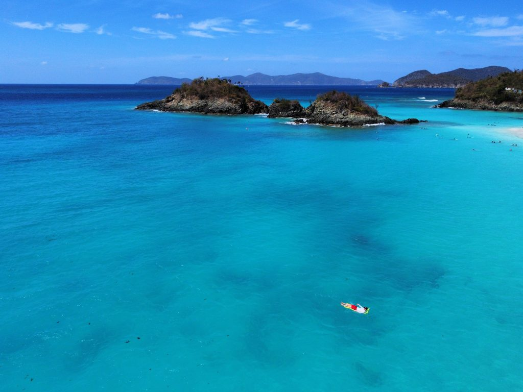 St John Trunk Bay Drone Overview on Floatie